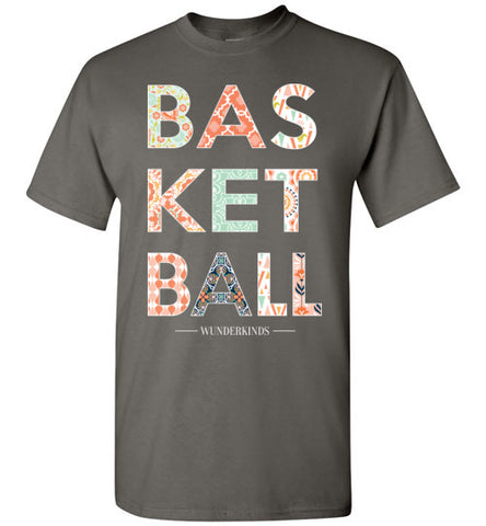 basketball patterned shirt, short sleeve t-shirt, girls basketball clothing, female basketball player, preppy, southern style, typography, wunderkinds, child, kids, teen tween, teenager, children, basketball team gift, coach gift, coral, mint, navy, peach, white, charcoal grey