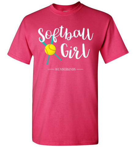 softball girl t-shirt, short sleeve shirt, softball player gift, baseball bat, ball, softball team gift, coach, athletic clothing, activewear, sporty shirt, top, kids, child, children, teen, tween, teenager, junior, gift for softball team, cute softball shirt, teal, aqua, white, yellow, hot pink