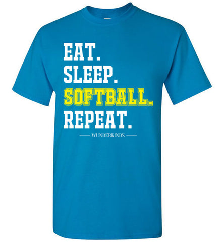 eat. sleep. softball. repeat. shirt, softball t-shirt for girls, womens softball clothing, athletic clothes, sporty shirt, softball player gift, softball mom, kids, children, child, teen, tween, teenager, junior, youth adult sizes, white, yellow, turquoise blue