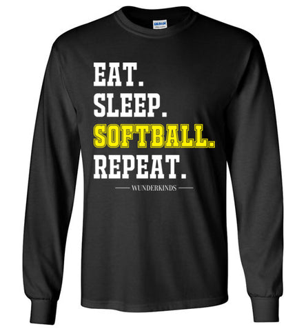 eat. sleep. softball. repeat. shirt, softball long sleeve t-shirt for girls, womens softball clothing, athletic clothes, sporty shirt, softball player gift, softball mom, kids, children, child, teen, tween, teenager, junior, youth adult sizes, white, yellow,  black