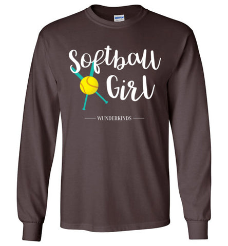 softball girl t-shirt, hoodie, long sleeve softball shirt, softball player gift, baseball bat, ball, softball team gift, coach, athletic clothing, activewear, sporty shirt, top, kids, child, children, teen, tween, teenager, junior, gift for softball team, cute softball shirt, teal, aqua, white, yellow, chocolate brown
