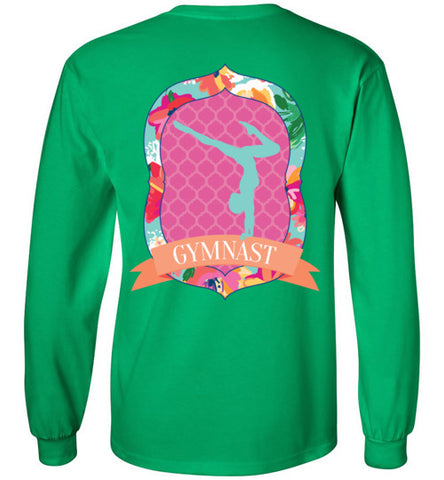 Gymnastics T-Shirt of Girls, long sleeve shirt, tropical flowers, quatrefoil pattern, southern style shirt, female gymnast, gymnastics mom, gym coach, graphic tee, tween, teen, teenager present, clothing, shirt, top, blouse, sporty clothes, apparel, junior shirt, pink, orange, turquoise, yellow, gildan, irish green,
