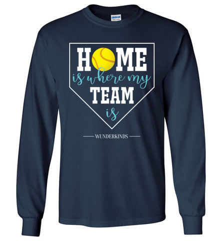 home is where my team is shirt, softball team long sleeve shirt, softball girl gift, present for softball player, softball, home plate, activewear, athletic clothes, sporty clothing, girls, children, child, kids, youth, teens, teenager, tween, women, softball mom, aqua blue, white, yellow, navy blue