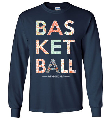 basketball patterned shirt, long sleeve t-shirt, girls basketball clothing, female basketball player, preppy, southern style, typography, wunderkinds, child, kids, teen tween, teenager, children, basketball team gift, coach gift, coral, mint, navy, peach, white, navy blue