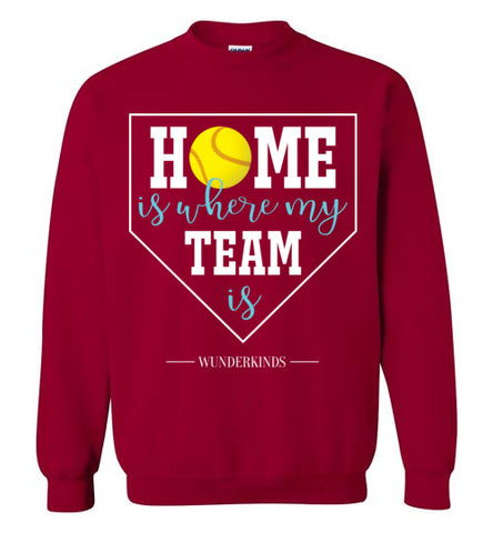 home is where my team is shirt, softball team sweatshirt, softball girl gift, present for softball player, softball, home plate, activewear, athletic clothes, sporty clothing, girls, children, child, kids, youth, teens, teenager, tween, women, softball mom, aqua blue, white, yellow, cardinal red