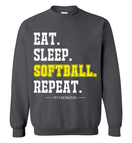 eat. sleep. softball. repeat. shirt, softball crewneck sweatshirt for girls, womens softball clothing, athletic clothes, sporty shirt, softball player gift, softball mom, kids, children, child, teen, tween, teenager, junior, youth adult sizes, white, yellow,  charcoal dark heather