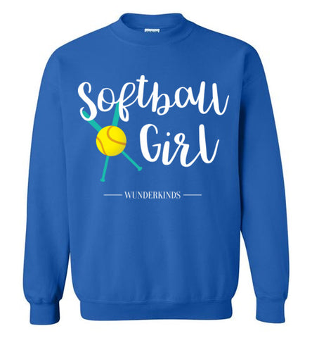 softball girl t-shirt, crewneck sweatshirt, softball shirt, softball player gift, baseball bat, ball, softball team gift, coach, athletic clothing, activewear, sporty shirt, top, kids, child, children, teen, tween, teenager, junior, gift for softball team, cute softball shirt, teal, aqua, white, yellow, royal blue