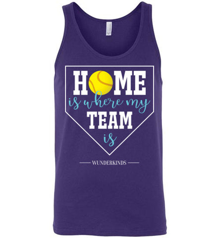 home is where my team is shirt, softball team tank top, softball girl gift, present for softball player, softball, home plate, activewear, athletic clothes, sporty clothing, girls, children, child, kids, youth, teens, teenager, tween, women, softball mom, aqua blue, white, yellow, purple