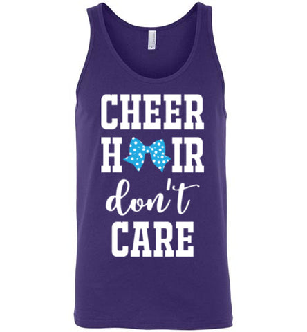 cheer hair don't care shirt, cheerleading shirt, cheerleader, cheer bow, purple, white, turquoise, tank top, girl gift, christmas present