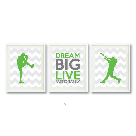 Dream Big Live Passionately Print Set for Baseball Players - Boys Baseball Team - Teen Room Decor - Grey, White, Green, Titanium