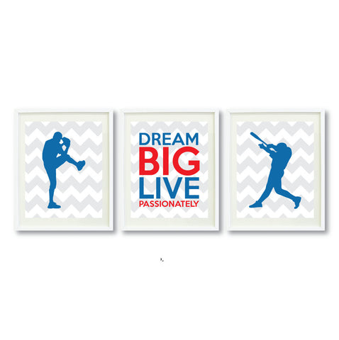 Dream Big Live Passionately Print Set for Baseball Players - Boys Baseball Team - Teen Room Decor - Grey, White, Red, Blue