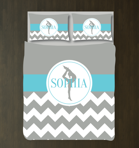 Custom Gymnastics Duvet Set - Gymnast Chevron Bedding - Sports Gift for Girls - Aqua, White and Grey