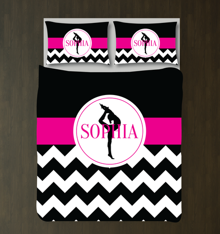 Custom Gymnastics Duvet Set - Gymnast Chevron Bedding - Sports Gift for Girls - Black, White and Hot Pink