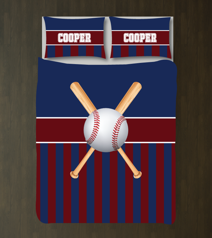 Custom Striped Baseball Bedding For Boys