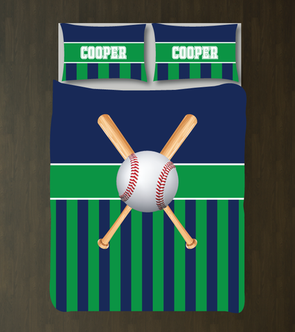 Custom striped baseball bedding for boys - Teen boy duvet cover and shams - Sports themed room - navy blue, green
