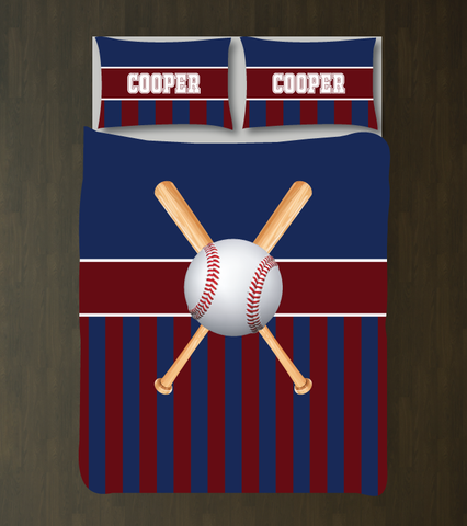 Custom striped baseball bedding for boys - Teen boy duvet cover and shams - Sports themed room - navy blue, burgundy