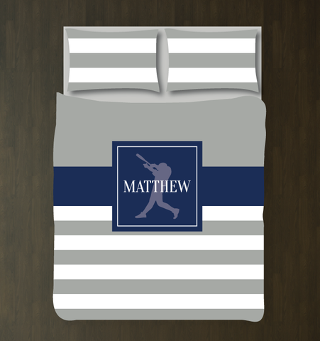 Custom rugby striped baseball bedding for boys - Batter - Teen boy duvet cover and shams - Sports themed room - grey, navy blue