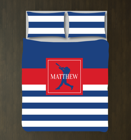 Custom rugby striped baseball bedding for boys - Batter - Teen boy duvet cover and shams - Sports themed room - red, white, royal blue