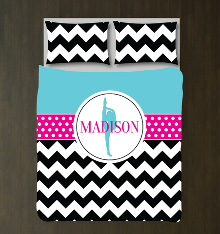 Custom Dance Bedding Set with Chevron Stripes and Polka Dots - Gift for Girls and Teen Dancers - Dance Themed Bedroom Decor - White, Black, Aqua and Hot Pink