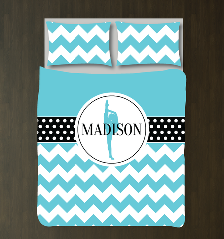 Custom Dance Bedding Set with Chevron Stripes and Polka Dots - Gift for Girls and Teen Dancers - Dance Themed Bedroom Decor - White, Black, Aqua