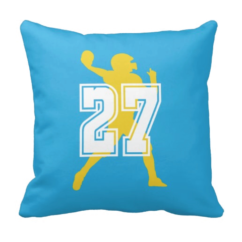 Football Jersey Number Throw Pillow - Football Player - Sports Team Gift - White, Turquoise and Yellow