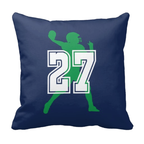 Football Jersey Number Throw Pillow - Football Player - Sports Team Gift - White, Navy and Green
