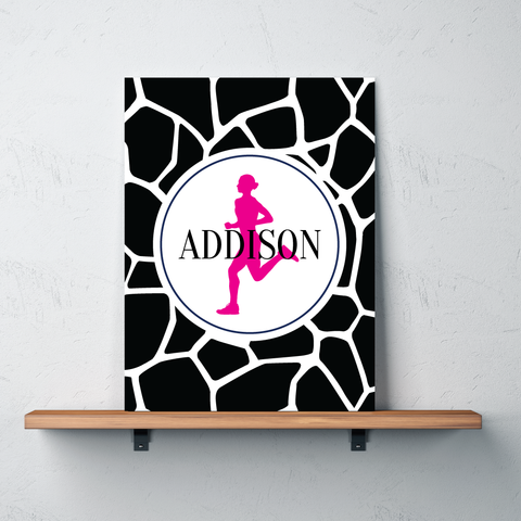 Giraffe Print Gallery Wrapped Canvas for Runners - Personalized with Name - Running Bedroom Decor for Girls and Teens - Preppy College Dorm Room - Track and Field - Cross Country - Marathon - White, Black, Hot Pink