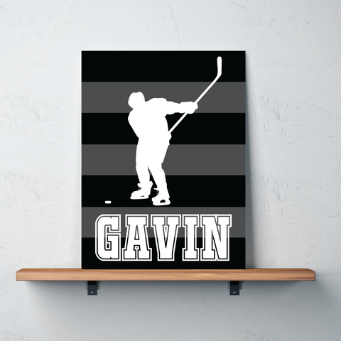 Striped Ice Hockey Player Canvas - Wall Art for Boys - Sports Themed Decor - Gift - White, Black, Grey