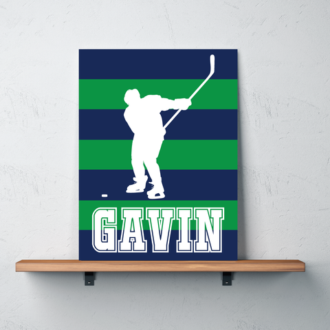 Striped Ice Hockey Player Canvas - Wall Art for Boys - Sports Themed Decor - Gift - White, Green, Navy Blue
