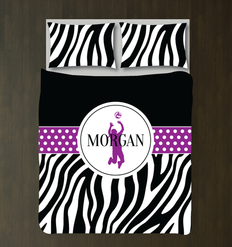 Zebra Print Volleyball Player Bedding - Duvet and Shams - Sports Gift for Girls - Black and White, Purple