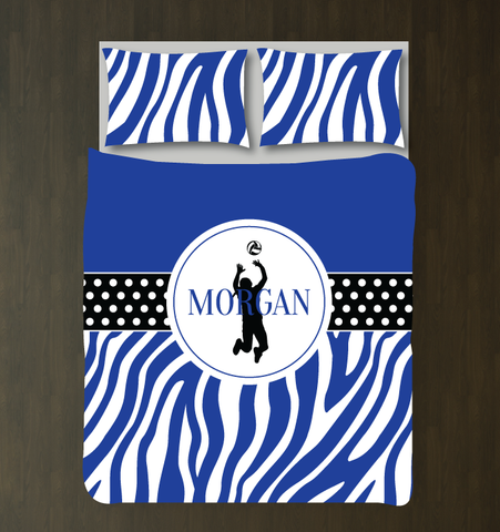 Zebra Print Volleyball Player Bedding - Duvet and Shams - Sports Gift for Girls - Royal Blue, Black and White