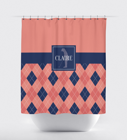 Golf Shower Curtain - Preppy Argyle Pattern - Girls, Teens, Kids - Girls Golf Team Gift - Golf Themed Bathroom Decor for Female Golfers - Navy Blue, Cayenne, Coral