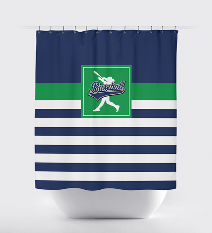Custom Striped Baseball Player Shower Curtain - Sports Gifts for Boys and Teens - Bathroom Decor - White, Navy Blue and Green