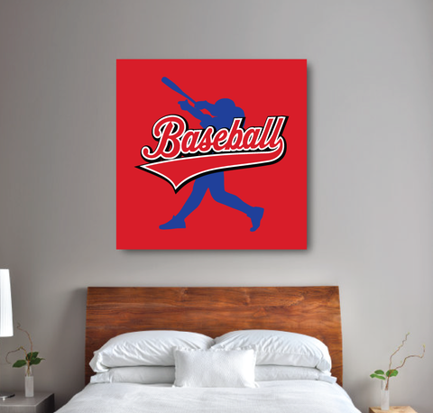 custom baseball wall canvas for boys - batter - Sports gift for teens - red, royal blue, white