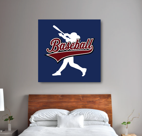 custom baseball wall canvas for boys - batter - Sports gift for teens - white, navy blue, burgundy