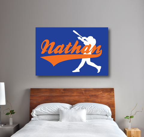 Personalized baseball wall canvas for boys - Nathan or any name monogram - batter - Sports gift for teens - white, royal blue, orange