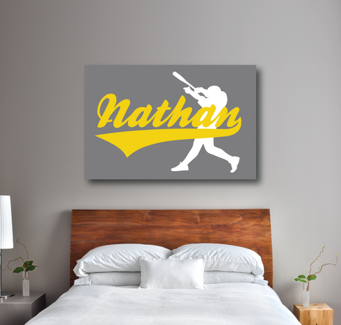 Personalized baseball wall canvas for boys - Nathan or any name monogram - batter - Sports gift for teens - white, grey, yellow