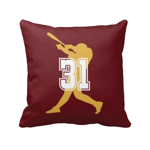 Custom Baseball Pillow for Boys with Jersey Numbers - Baseball Player - Sports Team Gift for Teens - White, Burgundy, Mustard Yellow