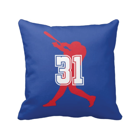 Custom Baseball Pillow for Boys with Jersey Numbers - Baseball Player - Sports Team Gift for Teens - White, Red, Royal Blue