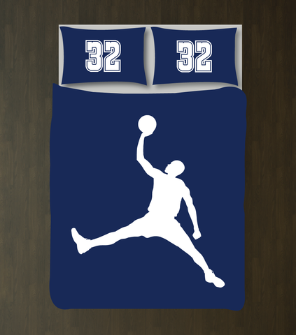 Custom Basketball Bedding Set for Boys - Duvet Cover and Shams - High School Basketball Team - Baller - Sports Gift - White and Navy Blue