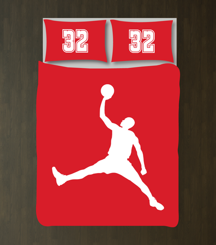 Custom Basketball Bedding Set for Boys - Duvet Cover and Shams - High School Basketball Team - Baller - Sports Gift - White and Red