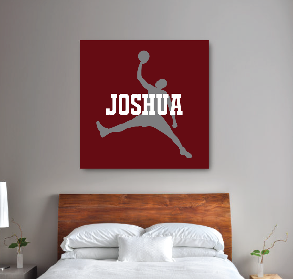 Custom basketball player canvas monogrammed boy 39 s name for Room decor ideas maybaby