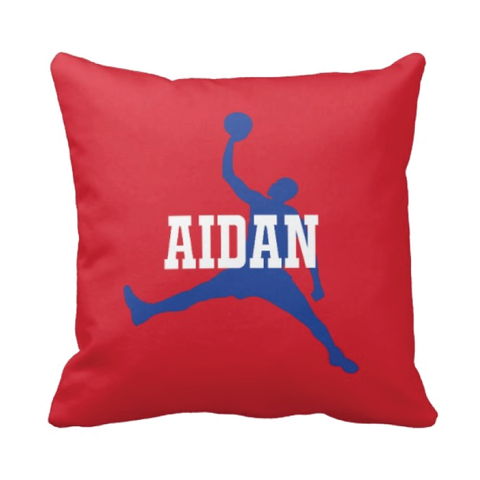 Personalized Basketball Pillow for Boys - Silhouette and Monogrammed Name - Sports Gift for Kids and Teens - White, Red, Royal Blue