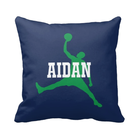 Personalized Basketball Pillow for Boys - Silhouette and Monogrammed Name - Sports Gift for Kids and Teens - White, Navy Blue, Green