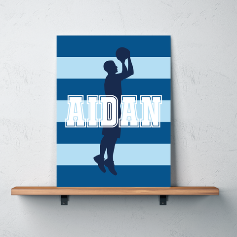 Striped Basketball Player Canvas - Wall Art for Boys - Sports Themed Decor - Gift - White, Navy, Monaco Blue, Light Blue