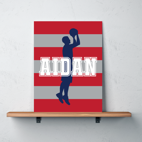Striped Basketball Player Canvas - Wall Art for Boys - Sports Themed Decor - Gift - White, Navy, Red, Grey