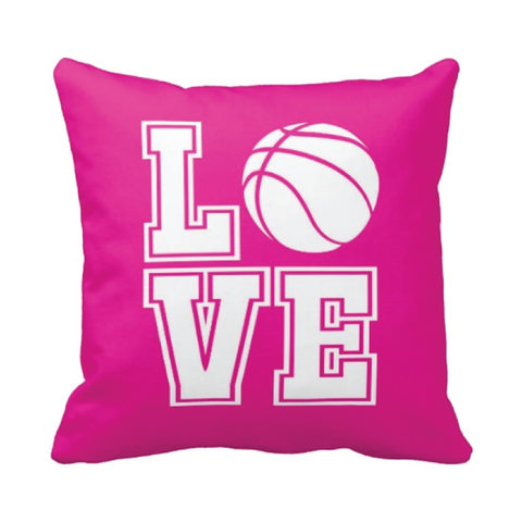 LOVE Basketball Pillow - Basketball Player - Sports Team Gift - White, Hot Pink