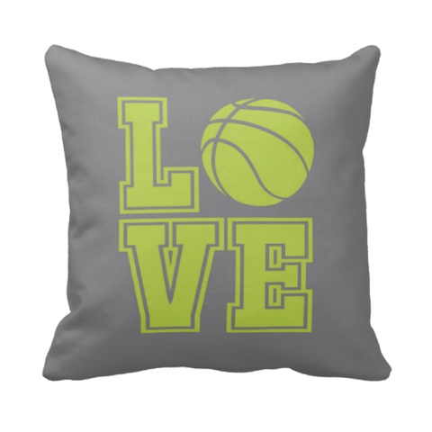 LOVE Basketball Pillow - Basketball Player - Sports Team Gift - White, Grey, Lime Green