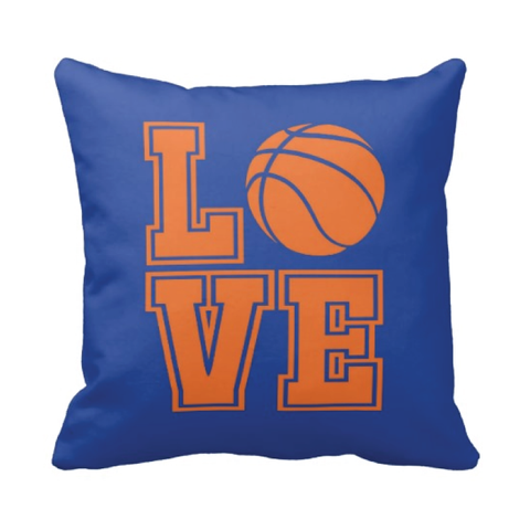 LOVE Basketball Pillow - Basketball Player - Sports Team Gift - White, Royal Blue, Carrot Orange