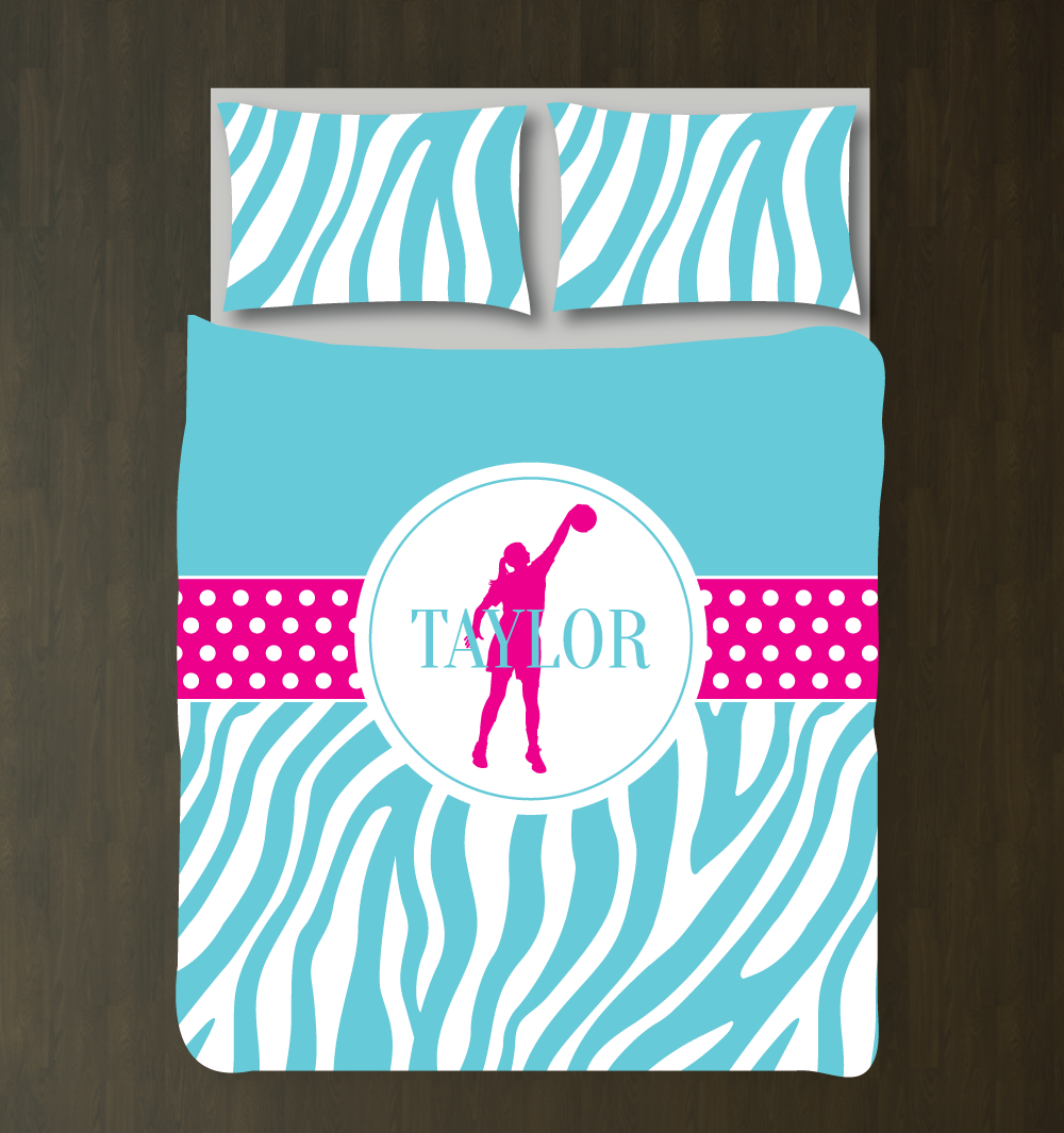Bed sets for teenage girls zebra -  Personalized Zebra Print Basketball Bedding Set Custom Gift For Girls And Teen Athletes Basketball